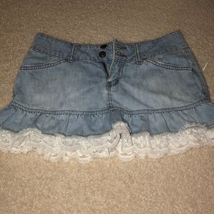Jean Skirt with Lace